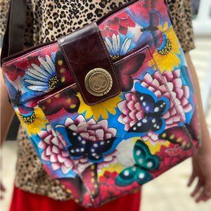 Cute vintage butterfly purse / leather